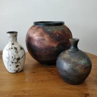 Copper Wash Moon Jar Medium by Abi  Higgins